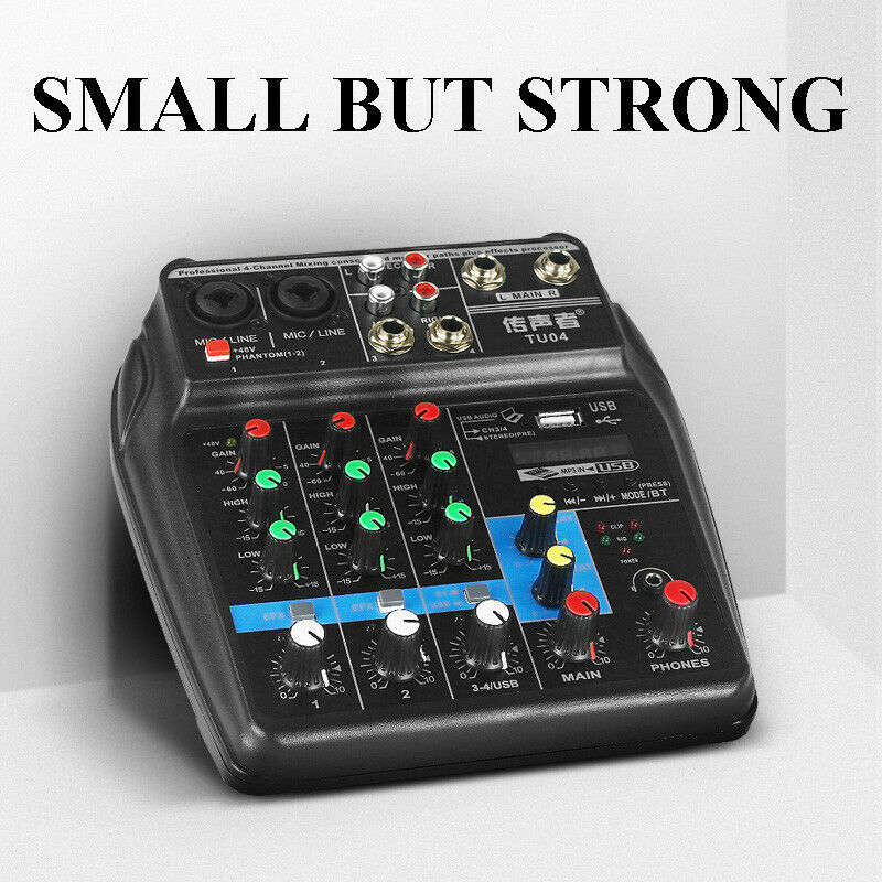 mini usb audio mixer amplifier bluetooth 48v phantom power 4 channels sound card ebay. Black Bedroom Furniture Sets. Home Design Ideas