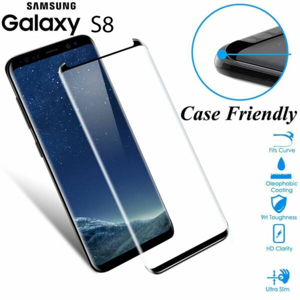 Case Friendly Tempered Glass Screen Protector Full Cover For Samsung Galaxy S8