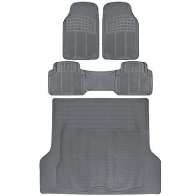 Motor Trend Odorless All Weather Rubber Car Truck SUV Floor Mats 4 PC Gray