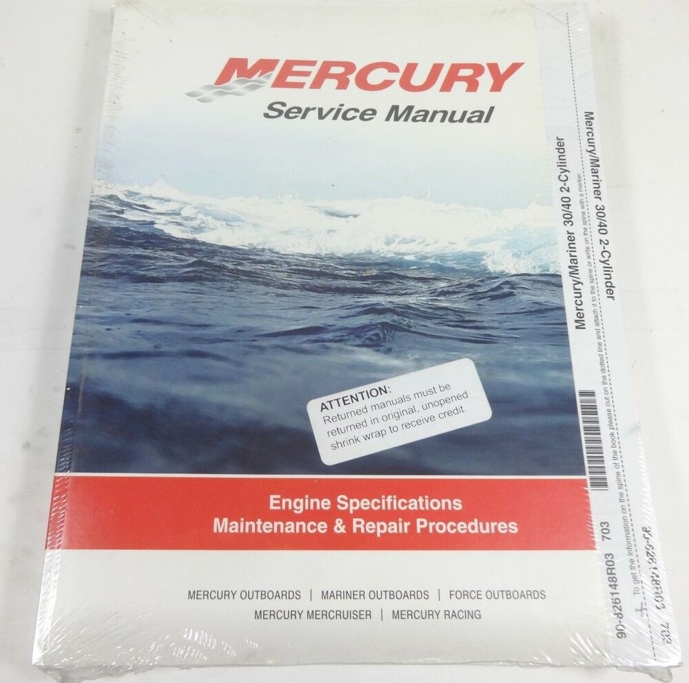 Mercury Factory Service Manual (90-826148R03) Mariner 30/40 2-Cylinder, NEW  | eBay