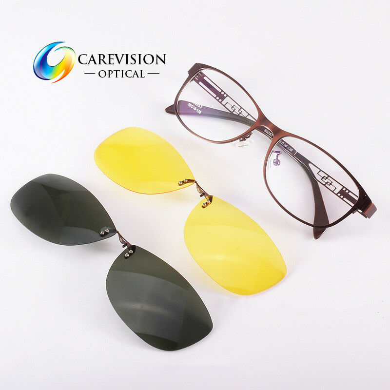 c1fc1f9afd4 Details about Womens Eyeglasses Frame with 2 PCS Magnetic Polarized Day    Night Clip On Lenses