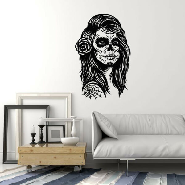 Vinyl Wall Decal Calavera Skull Girl Woman Mexico Mexican Day of the Dead ig5126