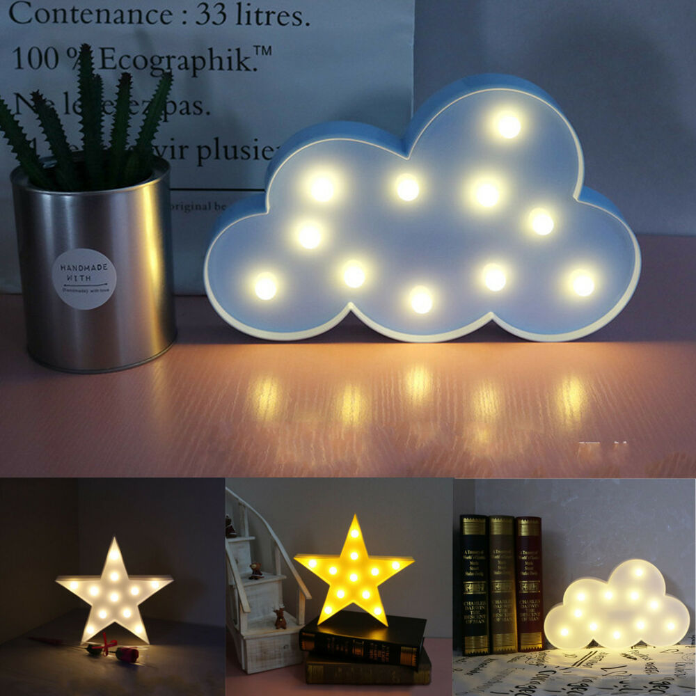 Childrens Bedroom Wall Lights: Cute 3D Star Cloud LED Night Light Wall Lamp Baby Kids