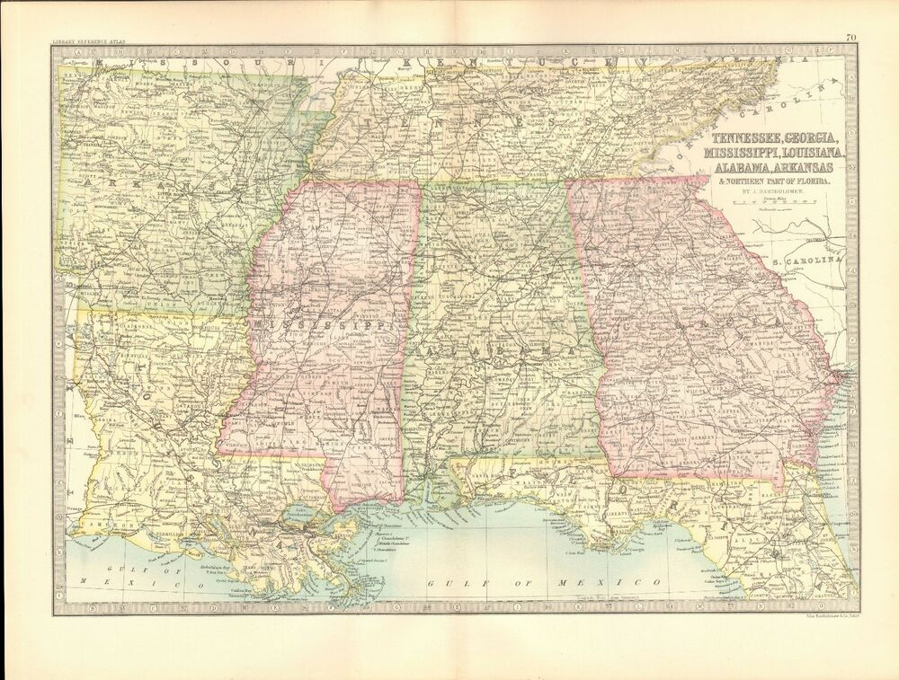 1890 ANTIQUE MAP - USA,TENNESSEE,MISSISSIPPI,GEORGIA,LOUISIANA ...