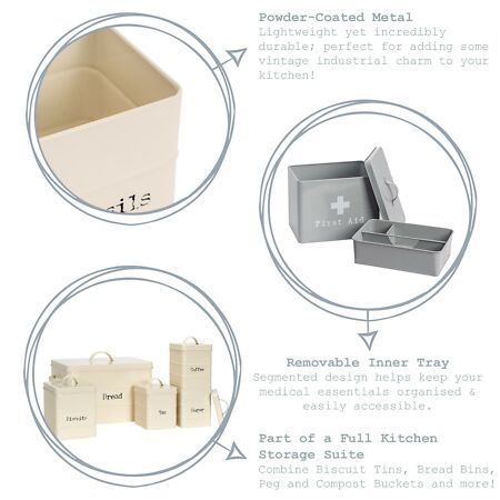 img-First Aid Box Empty Emergency Medical Survival Kit Storage Case 2 Tier Grey