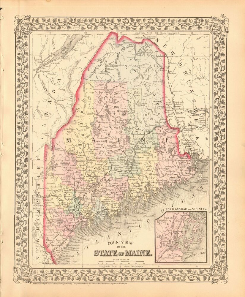 Maine Map Usa.1874 Antique Map Usa State Of Maine Portland And Vicinity