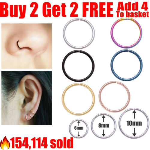 Surgical Steel Nose Ring Nose Hoop Cartilage Tragus Helix Lip Ear Piercing Ring