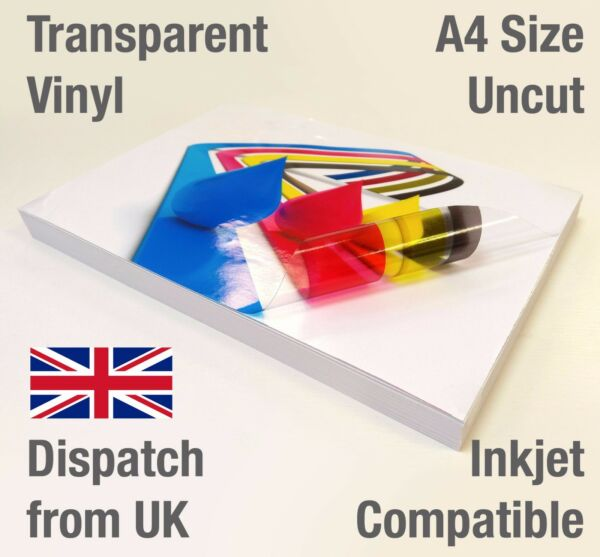 A4 Clear Transparent VINYL INKJET Glossy Self Adhesive Packaging Labels Stickers
