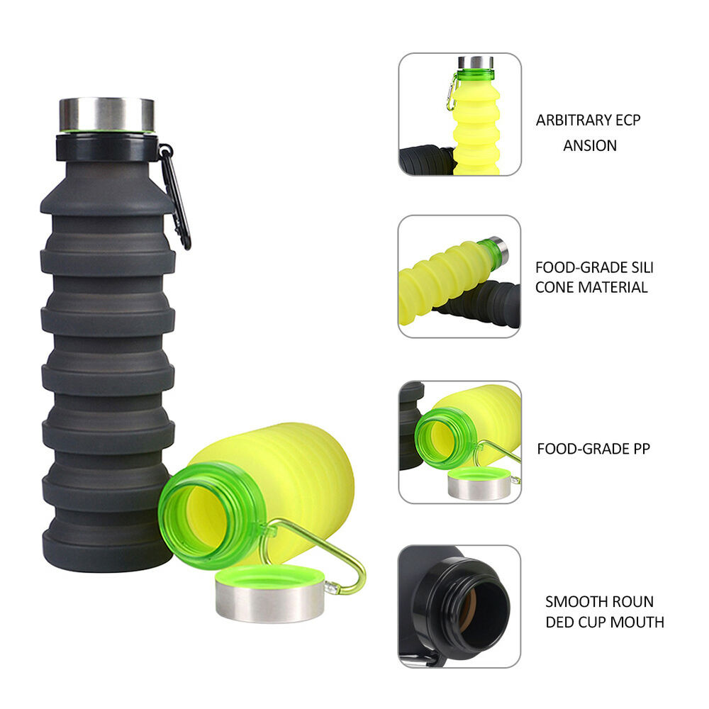Collapsible Folding Silicone Water Bottle Leak Proof Travel Sport Outdoor 8C