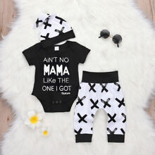 Newborn Kid Baby Boy 3pcs Clothes Jumpsuit Romper Bodysuit Pants Hat Outfits Set
