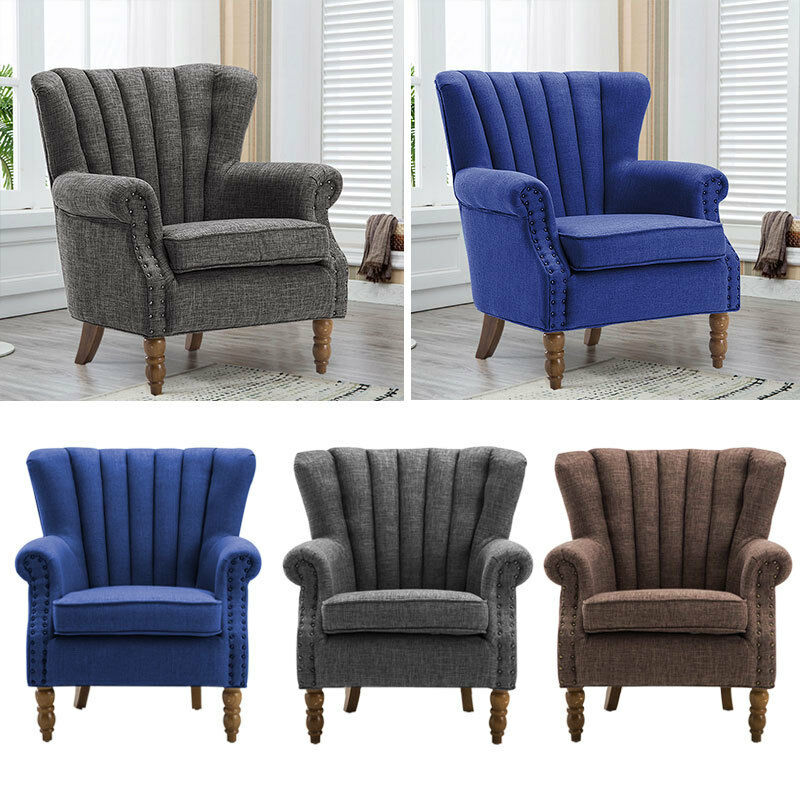 Chesterfield Retro Padded Armchair Accent Wing Back Chair
