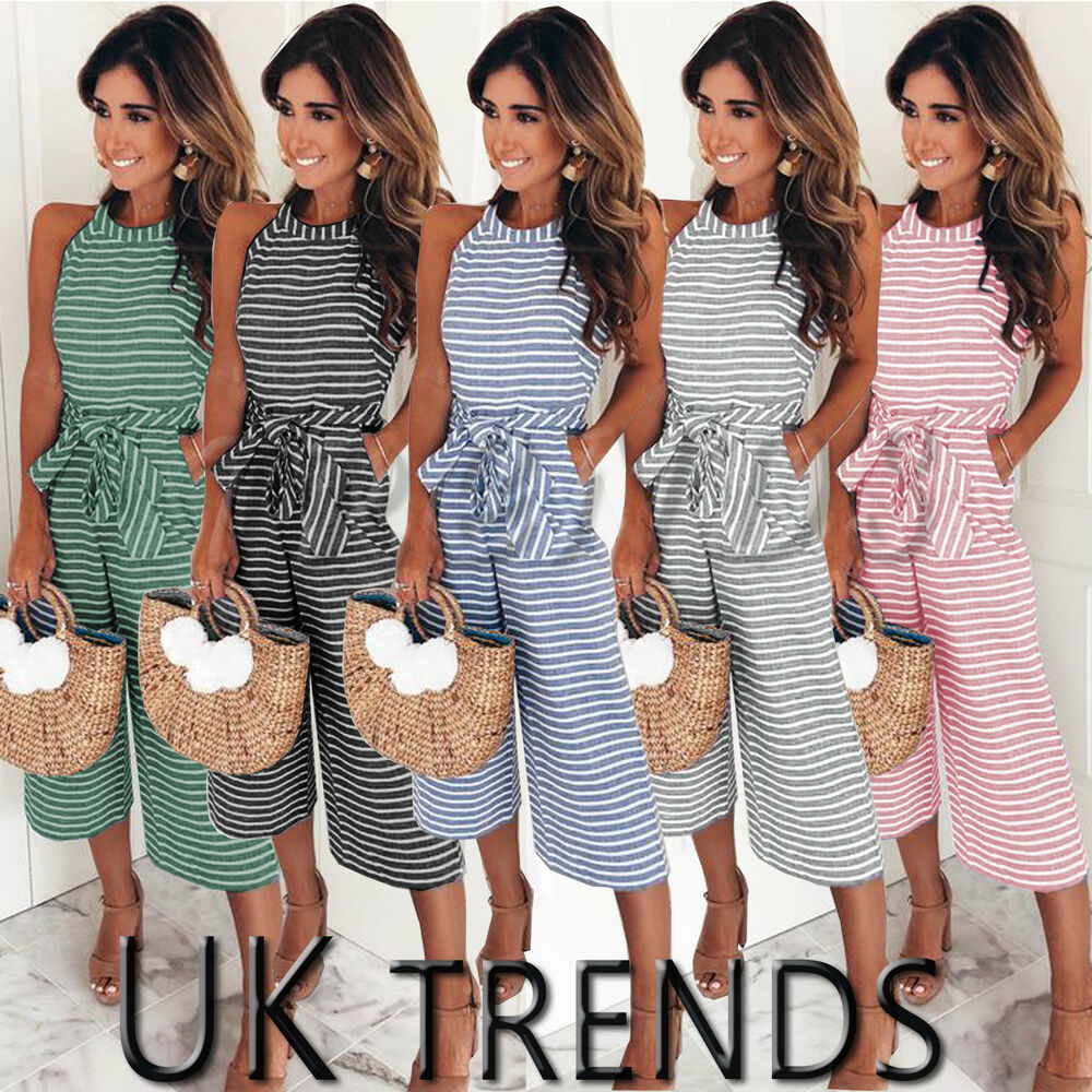 6203d2d446 Details about UK Womens Summer Striped Wide Leg Holiday Jumpsuits Playsuits  Culotte 6-16