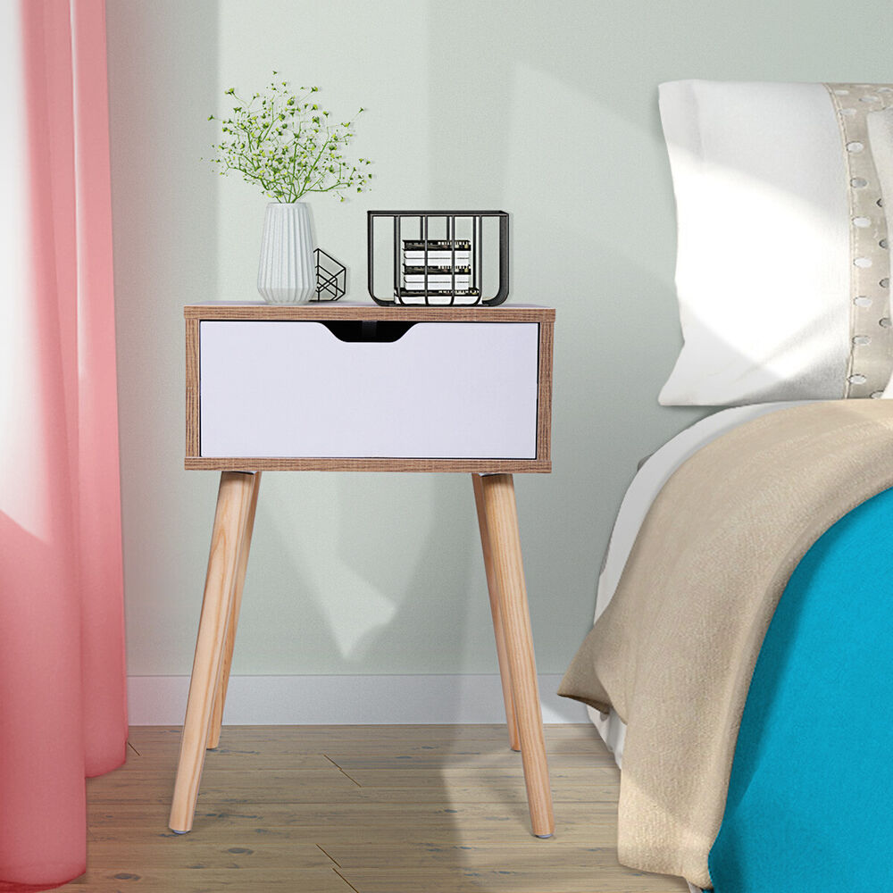 Set Of 2 End Bedside Table Solid Wood Legs Nightstand With