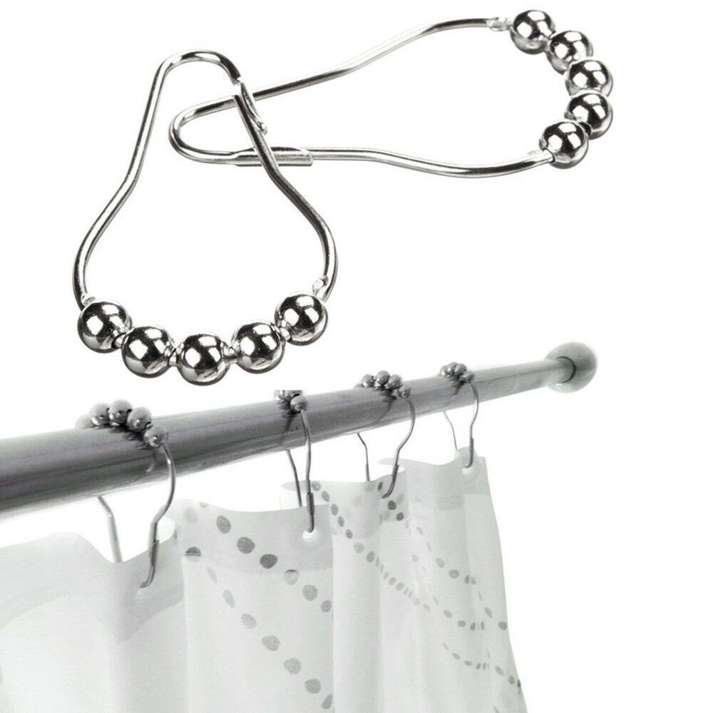Details About 12 24 X STAINLESS STEEL SHOWER CURTAIN RAIL POL ROD BALL BEAD RINGS CLIP HOOKS