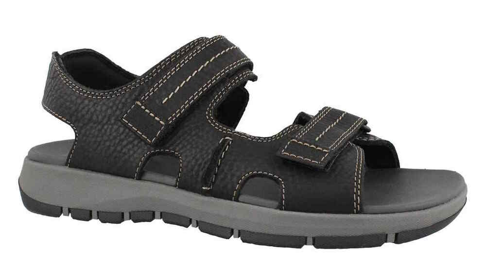 fe5c5524740 Details about Mens Clarks Brixby Shore Dark Black Leather Sandals  26131545