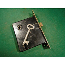 VINTAGE READING HARDWARE (R.H.C.) MORTISE LOCK with KEY - RECONDITIONED! (10296)