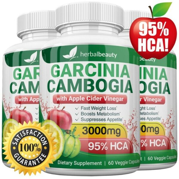 3 x Herbal Beauty GARCINIA CAMBOGIA 95% + APPLE CIDER VINEGAR Weight Loss 3000mg