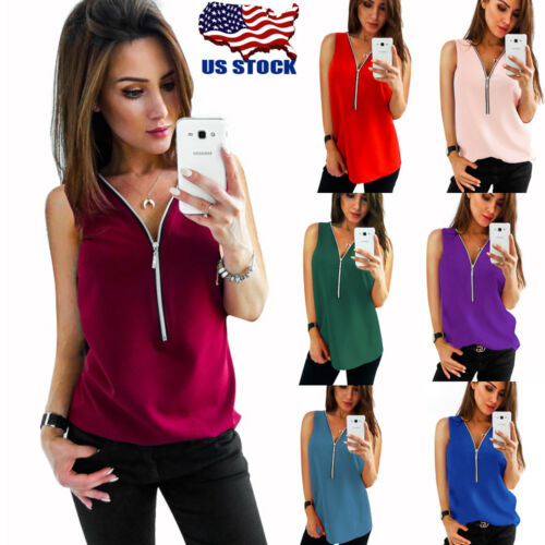 Fashion Women Summer Vest Top Sleeveless Chiffon Blouse Zipper Tank Tops T-Shirt