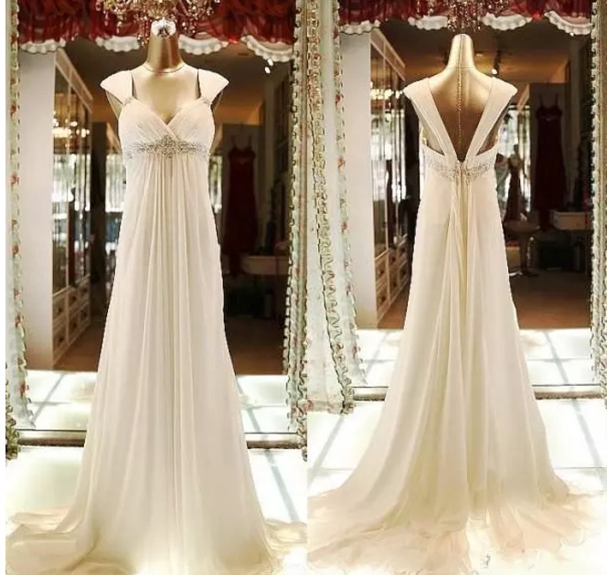 501f55221e Details about Long Chiffon Beaded Wedding Dresses Empire Maternity Dresses  A-Line Bridal Gown