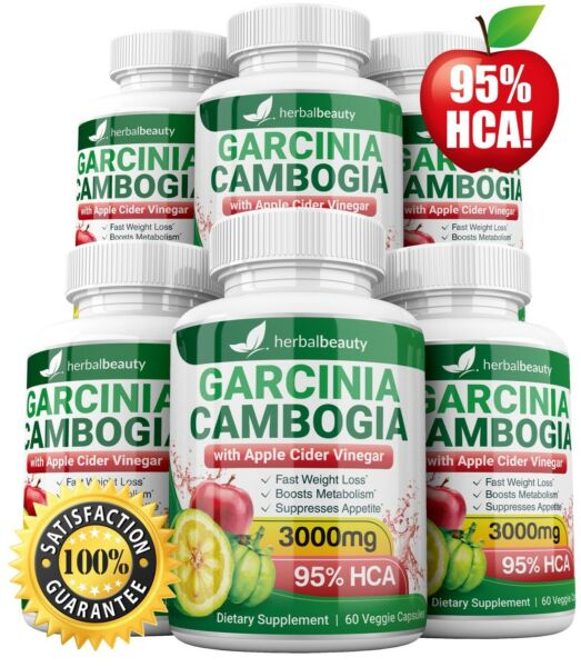 6X HerbalBeauty GARCINIA CAMBOGIA 95% HCA APPLE CIDER VINEGAR 3000mg Weight Loss