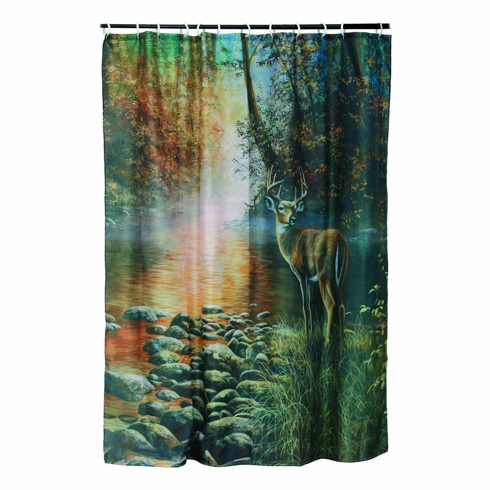 Details About Whitetail DEER Buck SHOWER CURTAIN Set Cabin Hunting Bathroom Decor W 12 Rings