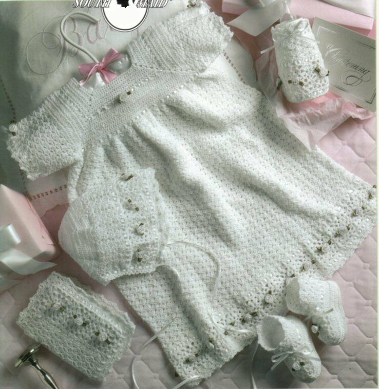 Christening Gown Ensemble Crochet Patterns Bonnet Booties Kay ...