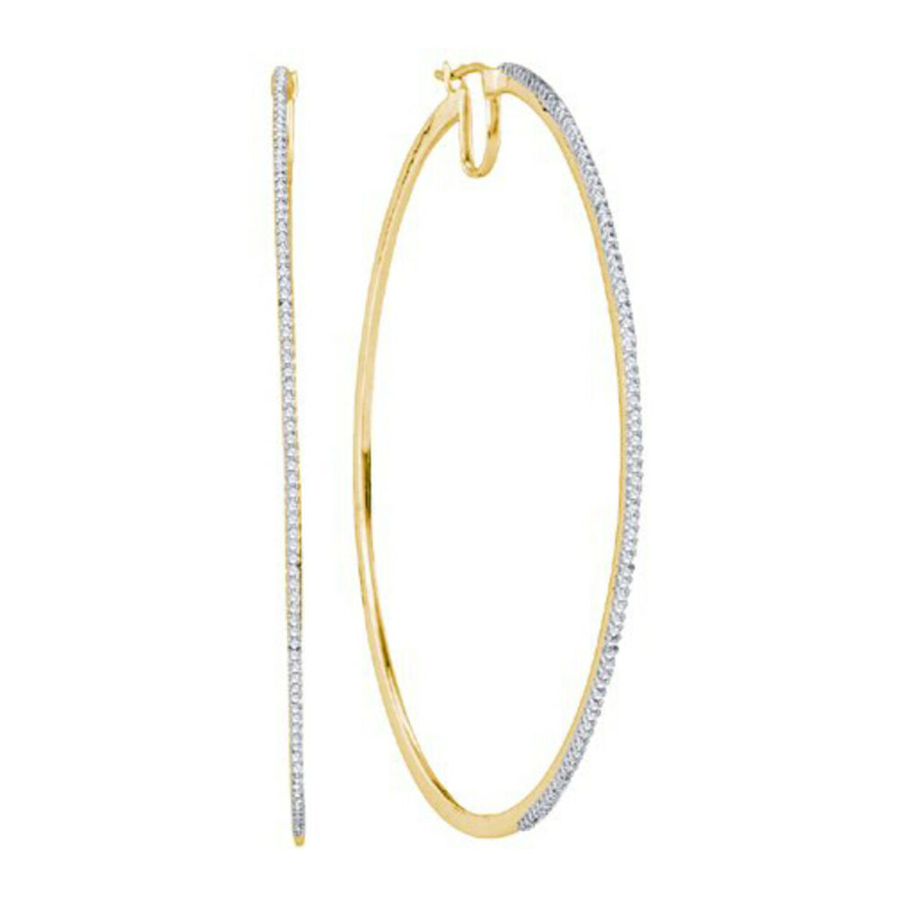 Large 1 2 Ctw Real Diamond Thin Front Hoop Earrings 2 2 Quot L