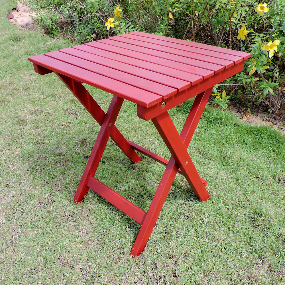 Royal Tahiti Acacia 16 Inch Round Folding Side Table Barn Red
