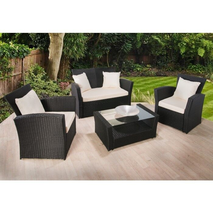 aa75b642d69 Details about RATTAN GARDEN FURNITURE SET 4 PIECE CHAIRS SOFA TABLE OUTDOOR  PATIO WICKER