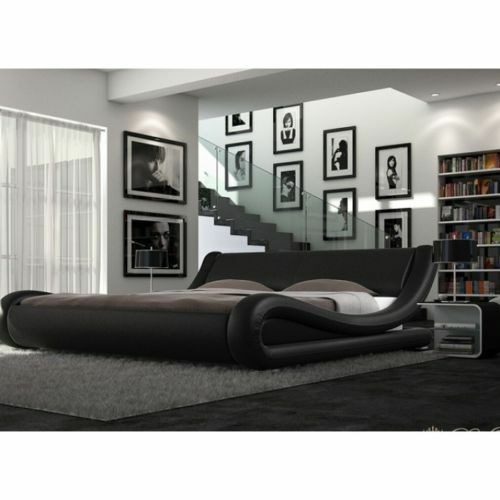 Enzo Italian Modern Small Double King Size Leather Bed Memory Foam