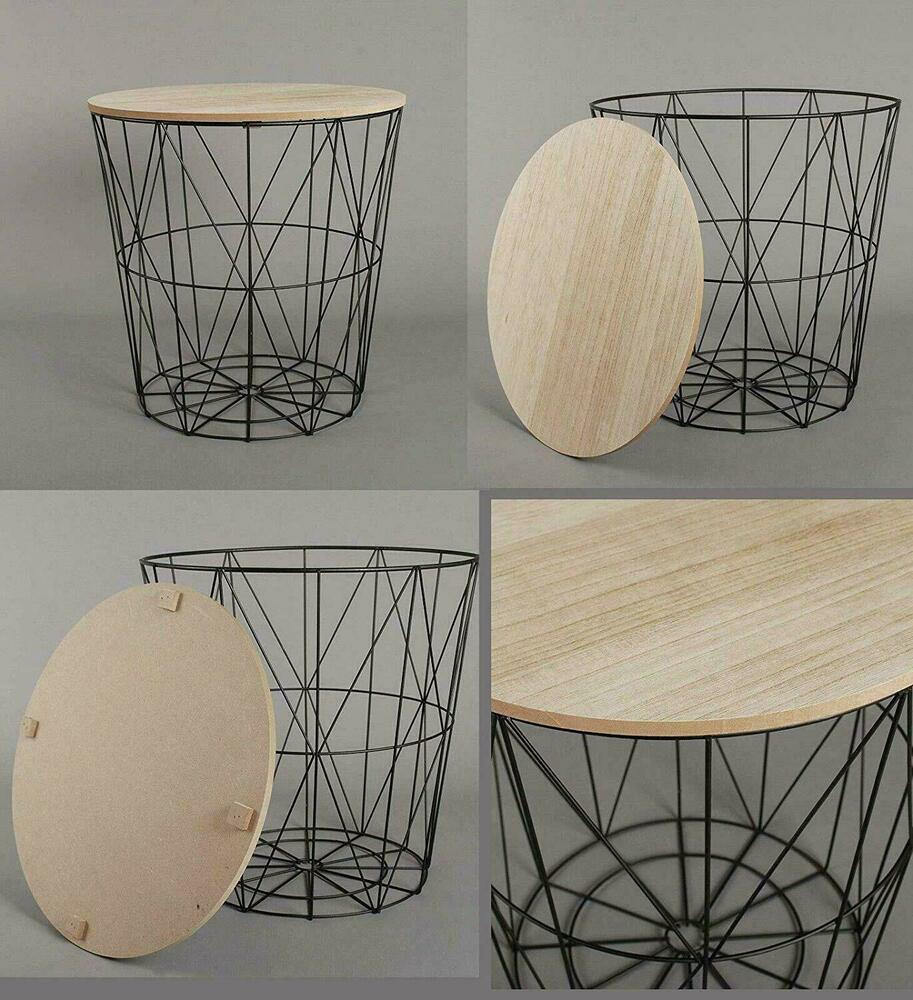 Details about retro side table black metal wire square wood top storage basket home furniture