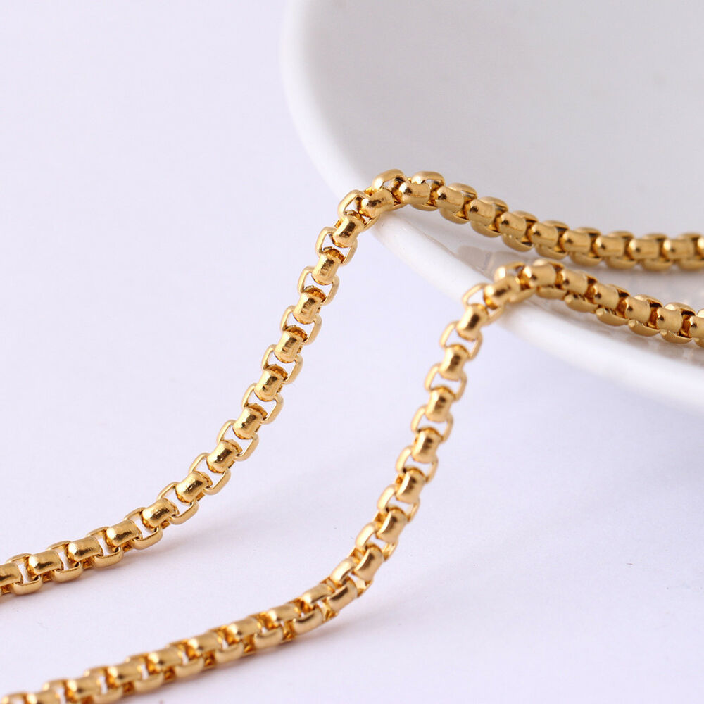 171e1489d Details about 3mm Wholesale 18K Yellow Gold Plated Stainless Steel Square  Rolo Chain 18''-28''