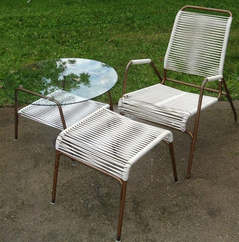 Details About 1950s 60s Mid Century Aimes Air Patio Chair Ottoman Gl Table 3 Piece