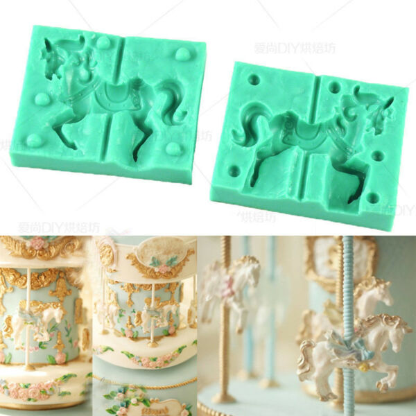 3D Carousel Horse Silicone Fondant Cake Molds Chocolate Baking Sugarcraft Mould