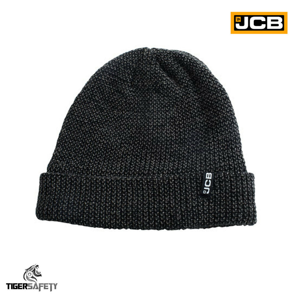cd38c3d0e2c Details about JCB Mens Black Grey Marl Knitted Thermal Fleece Lined Beanie  Hat Winter Cap Warm