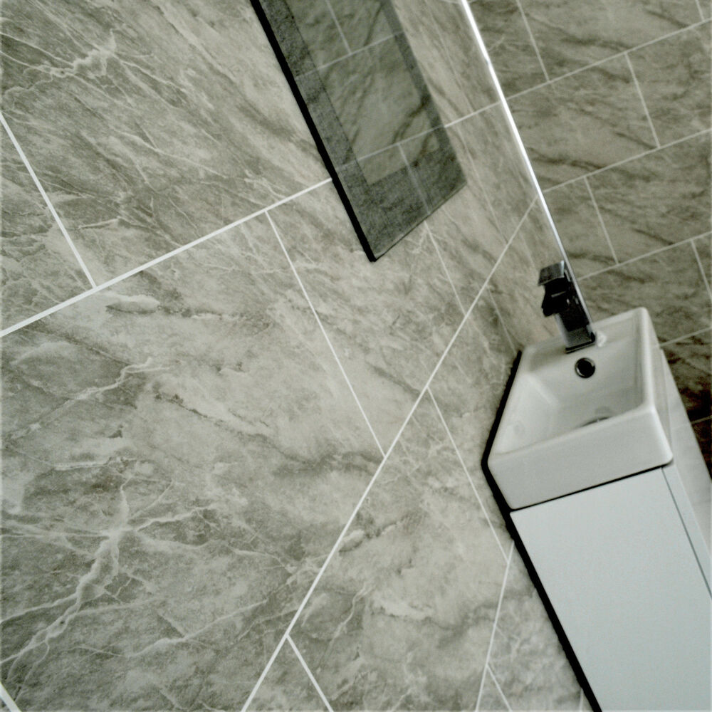 Grey Marble Bathroom Tile Effect Wall Panels Shower Wet ...