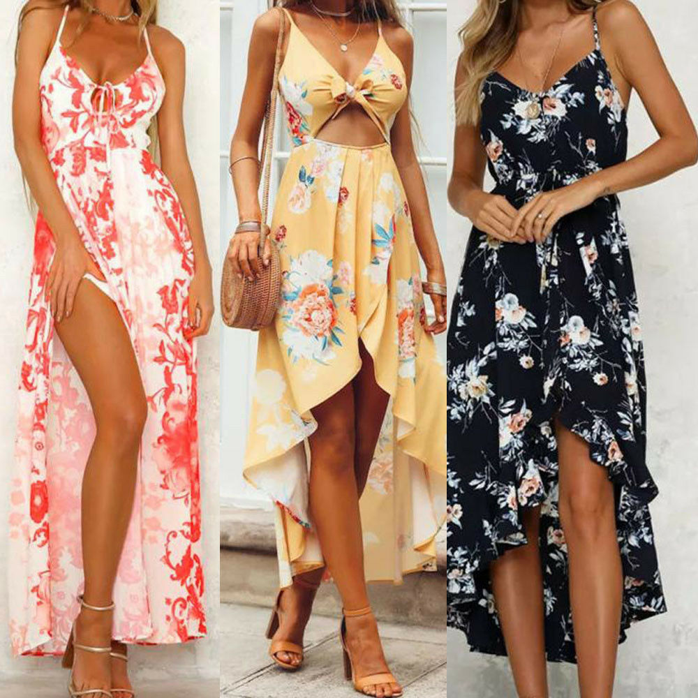 31f11ee89dcb Details about Womens Summer Boho Sexy Strappy Evening Cocktail Party Beach  Maxi Dress Sundress