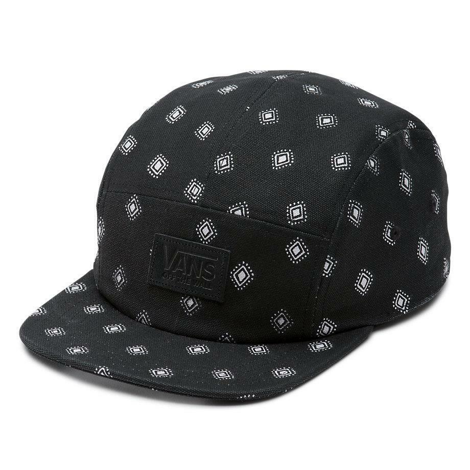 3ed63ee860d Details about Vans Off The Wall Gwen 5 Panel Hat Unisex Black Diamond Soft  Crown Camper NWT