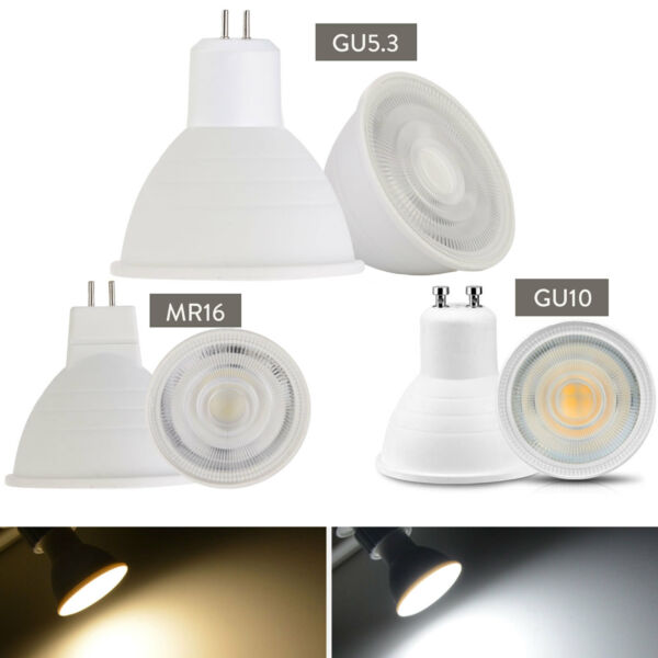 Dimmable GU10 COB LED Spotlight 7W MR16 GU5.3 Bulbs Light 110V 220V White Lamp