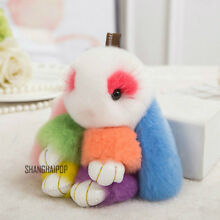 1 Charm Faux Fur Bunny Fluffy Rabbit Keyring Bag Pendant Keychain Furry Colorful