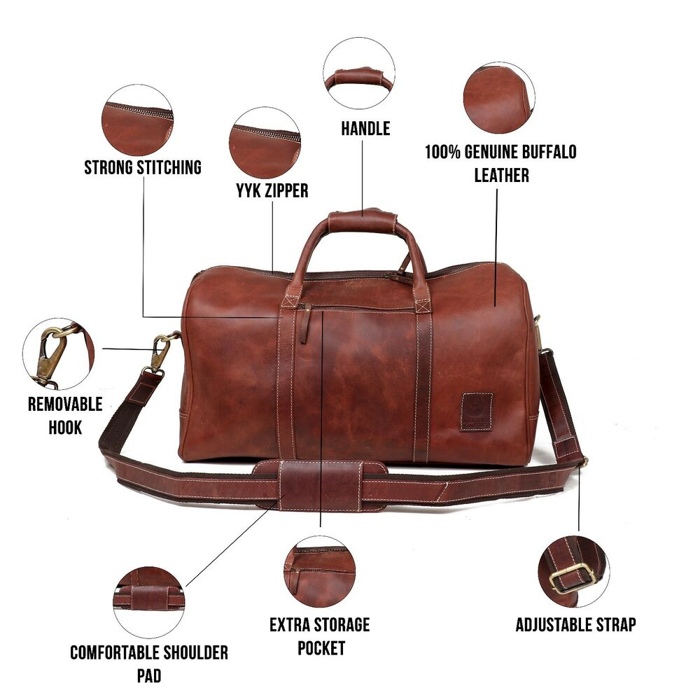 dbc1fb4f51 Details about Mens Hunter Leather Duffle Bag Overnight Weekend Travel  Luggage Carryon Handbag