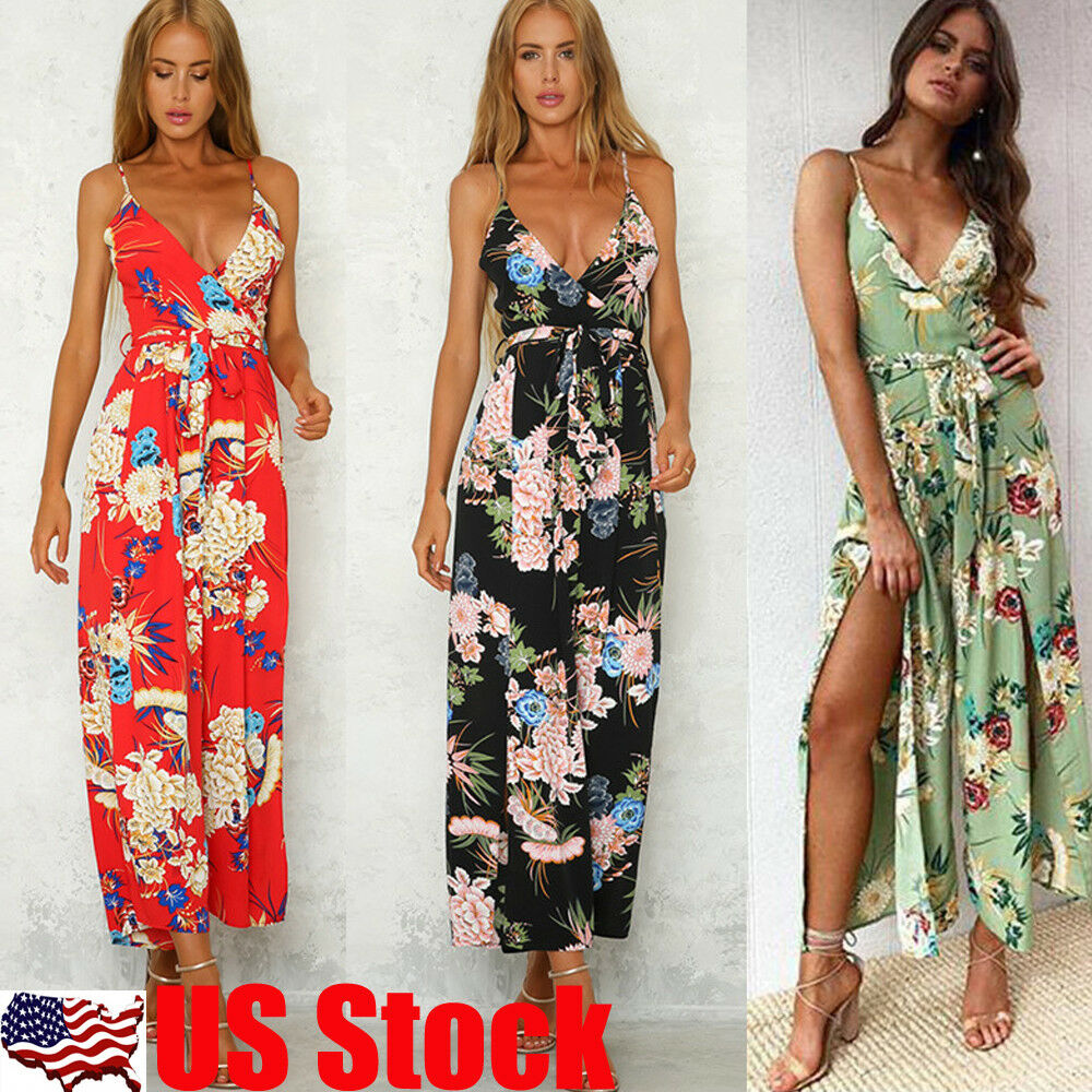 805eb3ddff Details about Womens Floral V Neck Jumpsuit Playsuit Summer Beach Boho  Dress Romper Trouser US