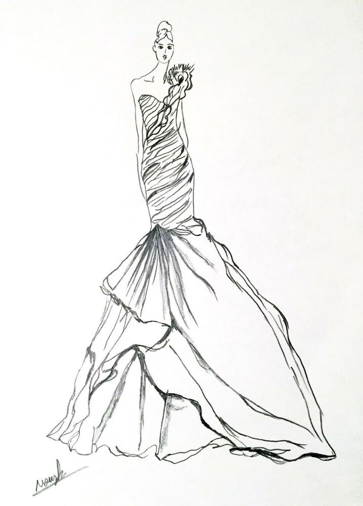 ARTIST ORIGINAL FASHION ILLUSTRATION SKETCH Pencil Drawing ...