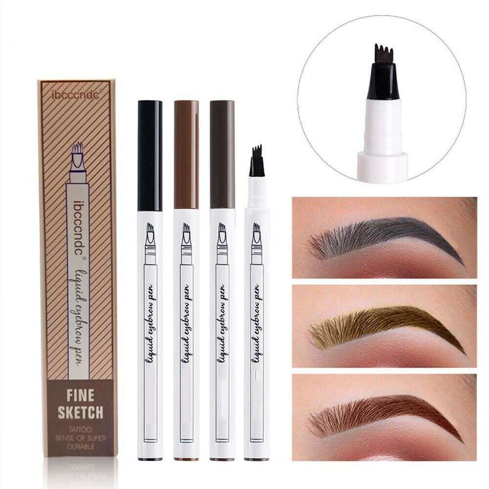 Details about microblading tattoo eyebrow ink fork 4 tip pen eye brow 4d makeup pencil 3 color