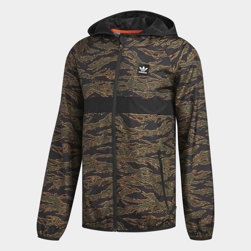 c8369c9b3f072 Details about ADIDAS SKATEBOARDING CAMOUFLAGE BB WIND PACKABLE JACKET CAMO  PRINT BLACK  ORANGE