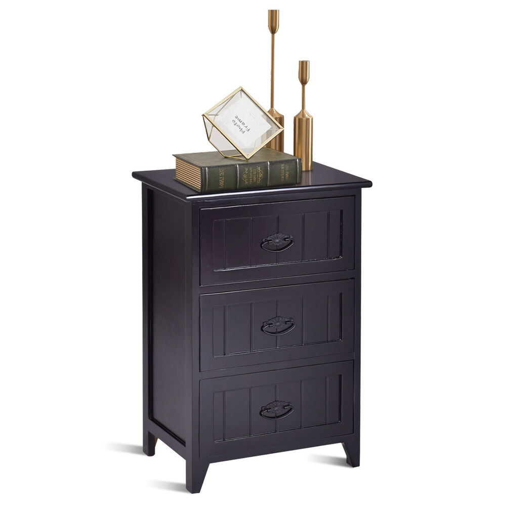 3 drawers nightstand end table bedroom storage wood side 11510 | s l1000
