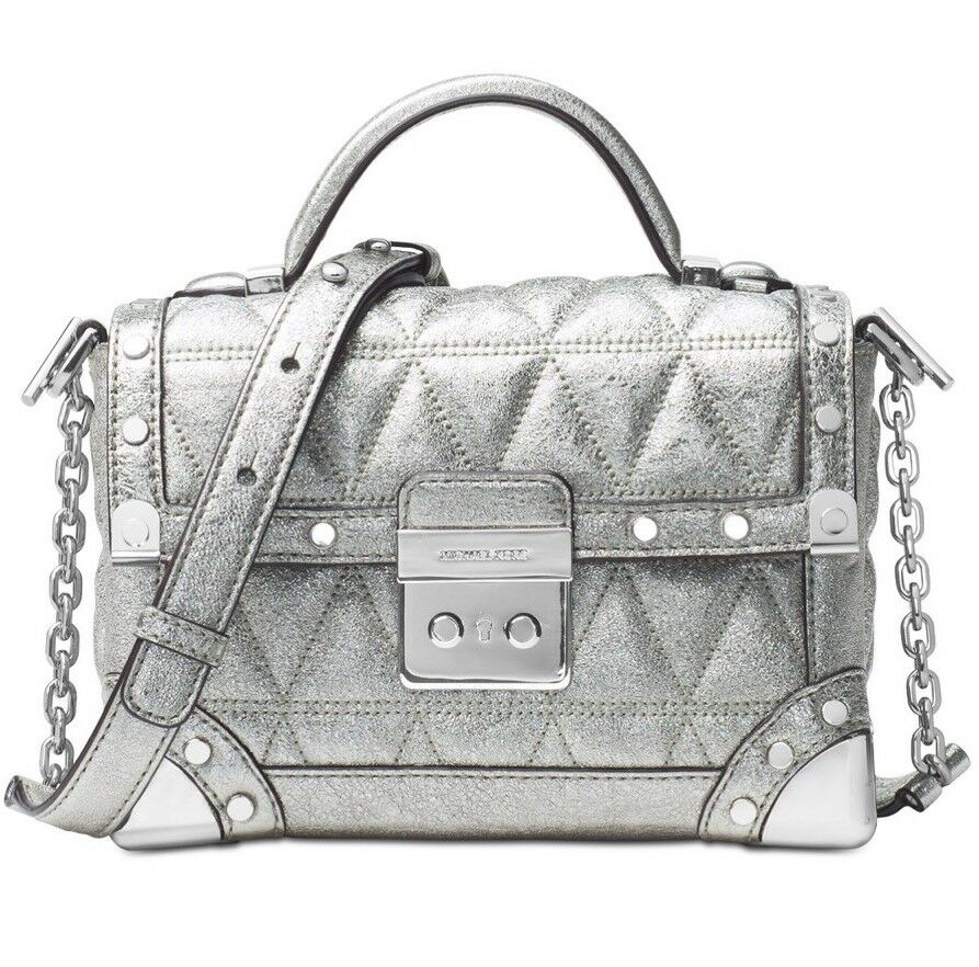 b6c0a02472214 Details about New Michael Kors Cori Small Trunk bag Pyramid quilted  metallic crackle leather