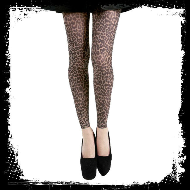 Leopard Printed Opaque Tights Footless Capri Animal Print Fast Free