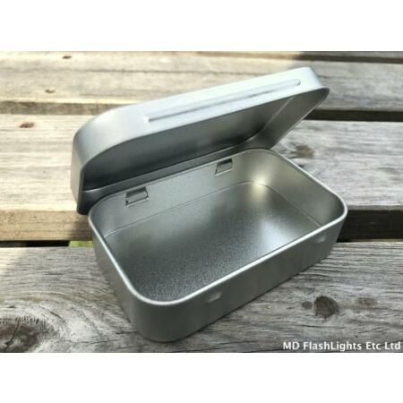 img-1OZ STYLE SILVER HINGED STORAGE TIN TOBACCO BUSHCRAFT SURVIVAL KIT TIN