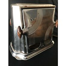 Son-Chief Vintage Toaster Antique Art Deco Winsted Conn. 680 Flip Wood Handles
